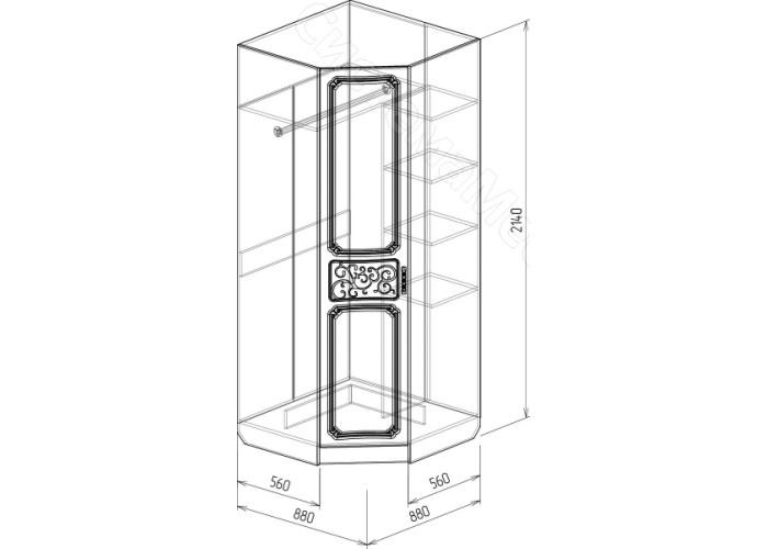 Спальня модульная Тиффани - Шкаф угловой. Рельеф Пастель