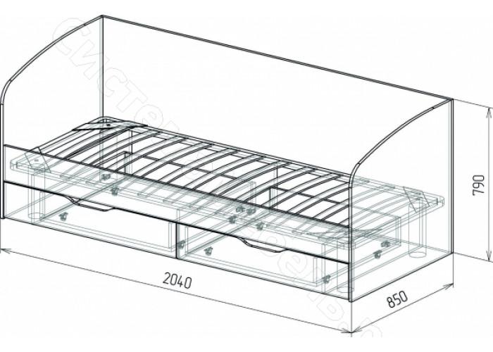 Детская Космос - Кровать N13 с ящиками и стенкой. Альпийское озеро/Дуб бунратти