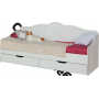 Детская Тиффани - Кровать 800 с ящиками и стенкой. Рельеф пастель