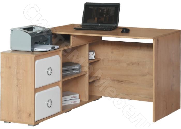 Детская Скай - Стол компьютерный угловой N2. Белый глянец/Дуб бунратти