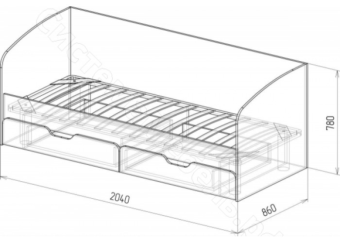 Детская Скай - Кровать N14 с ящиками и стенкой. Белый глянец/Дуб бунратти
