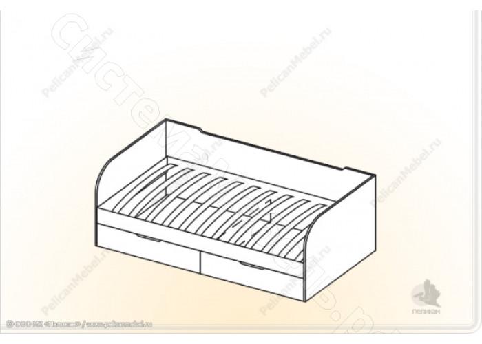 Детская Забава - Кровать с ящиками. Дуб белфорд/Салатовый