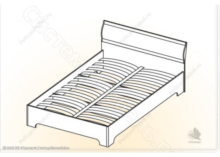 Модульная спальня Симона М -  Кровать 2. Ясень шимо темный/Дуб белфорд
