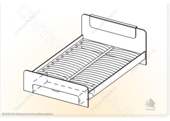 Модульная спальня Соната - Кровать 1600. Итальянский орех/Дуб молочный