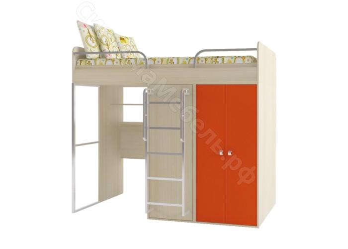 Детская Домисоль - Кровать двухярусная. Дуб молочный/Оранж