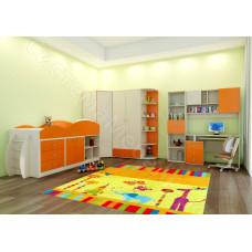 Детская Домисоль - Дуб молочный/Оранж. До 16 модулей