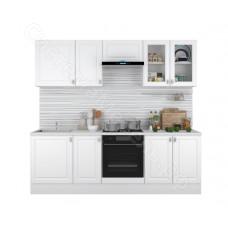 Кухня Ева 2.4 МДФ с витриной - Белый Софт