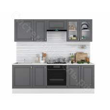 Кухня Ева 2.4 МДФ с витриной - Графит