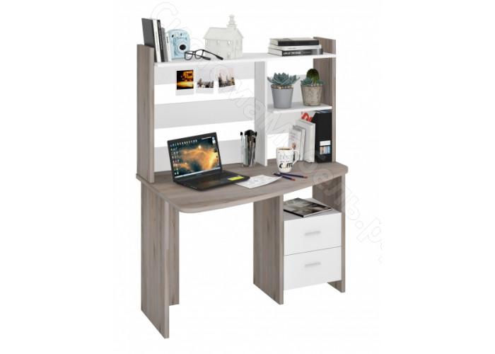 Компьютерный стол СКЛ-Крл120+НКЛ-120 - Нельсон/Белый жемчуг