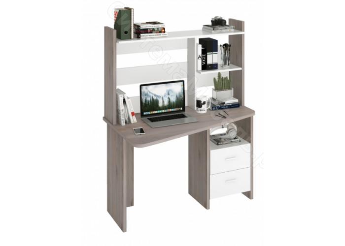 Компьютерный стол СКЛ-Трап120+НКЛ-120 - Нельсон/Белый жемчуг