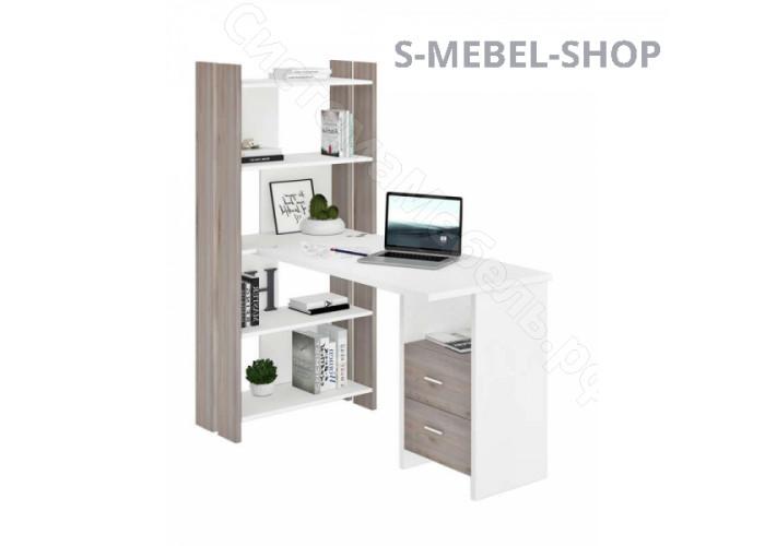 Компьютерный стол СТЛ-ОВХ+С100 Прям (без тумбы) - Нельсон/Белый жемчуг