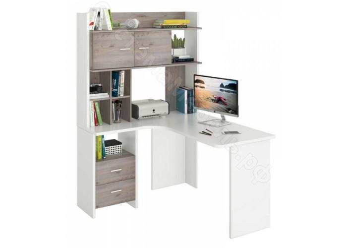 Компьютерный стол СКЛ-Угловой 130 + НКЛХ 120 - Белый жемчуг/Нельсон