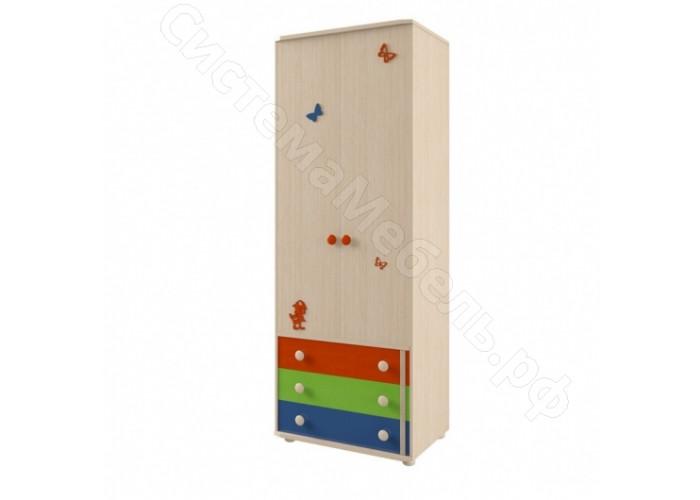 Молодежная Корвет МДК 4.13 - Шкаф 2-х дверный №111. Дуб белфорд/синий, оранж, эвкалипт