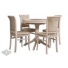 Обеденная группа Логарт из натурального дерева: стол Медведь + стулья М15