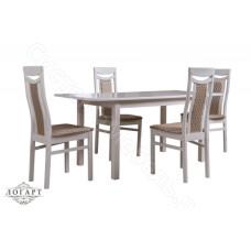 Обеденная группа Логарт из натурального дерева: стол Соболь + стулья М77