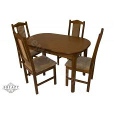 Обеденная группа Логарт из натурального дерева: стол ВМ30 (коньяк) + стулья М20