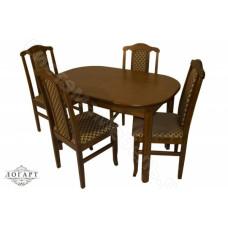 Обеденная группа Логарт из натурального дерева: стол ВМ30 (коньяк) + стулья М30
