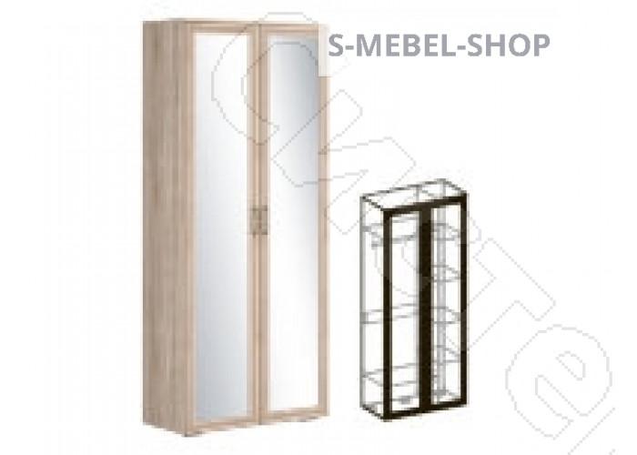 Модульная спальня Бруно - Шкаф 2-х створчатый зеркальный 440. Дуб сонома