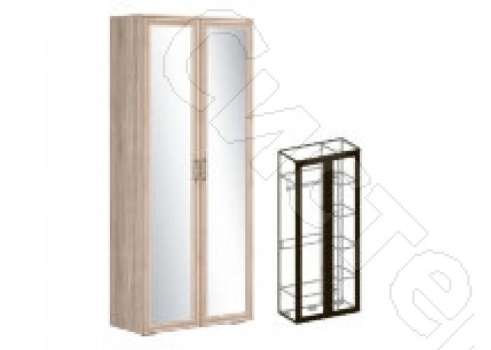 Модульная спальня Бруно - Шкаф 2-х створчатый зеркальный 540. Дуб сонома