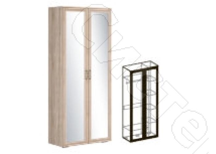 Модульная детская Бруно - Шкаф 2-х створчатый комбинированный зеркальный 440. Дуб сонома