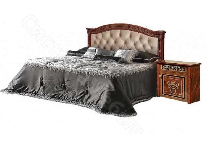 Модульная спальня Карина 3 - Кровать 2-х спальная (1,6м) (1-спинка + мягкий элемент). Темный орех