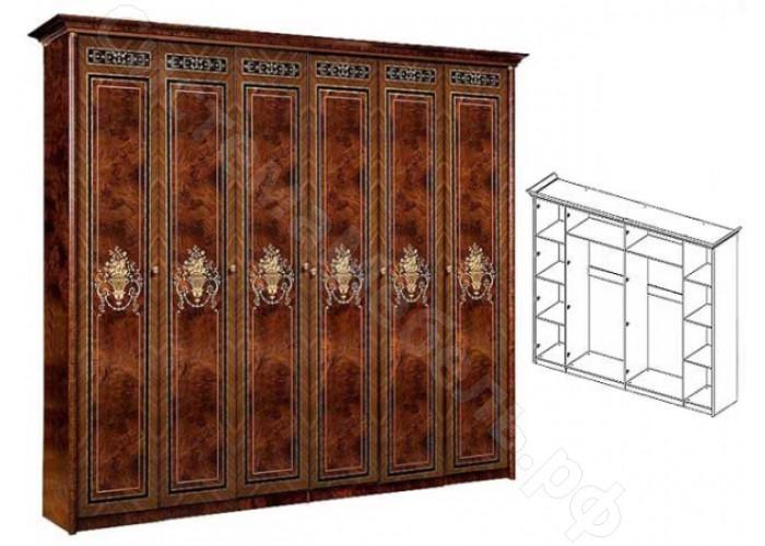 Модульная спальня Карина 3 - Шкаф 6-ти дверный (без зеркал). Темный орех