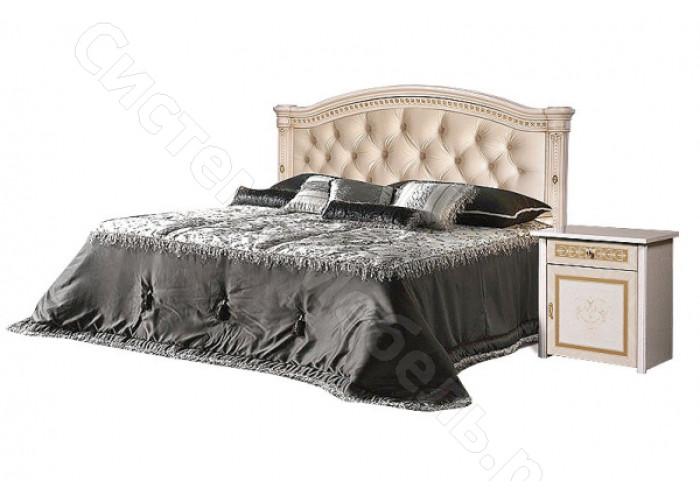 Модульная спальня Карина 3 - Кровать 2-х спальная (1,6м) (1-спинка + мягкий элемент). Беж