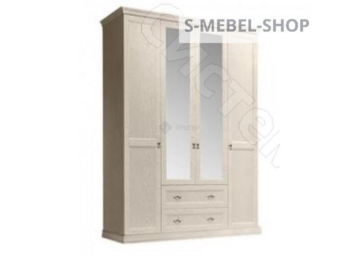 Модульная спальня Венеция - Шкаф 4-х дв. с зеркалами с выдвижными ящиками. Дуб седан