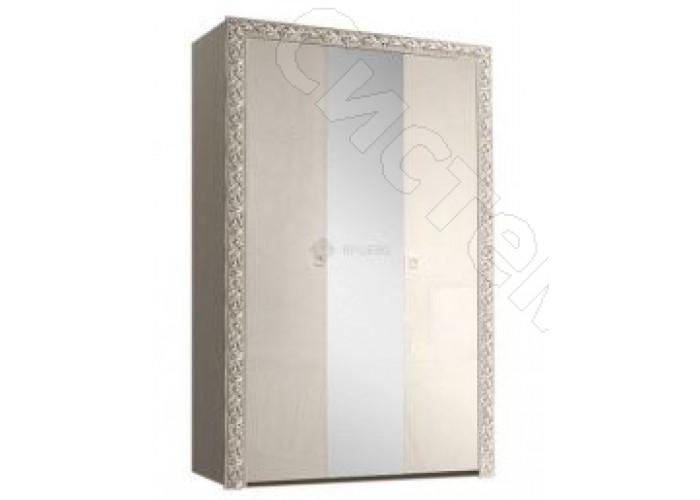 Модульная спальня Тиффани - Шкаф 3-х дв. с зеркалом. Слоновая кость