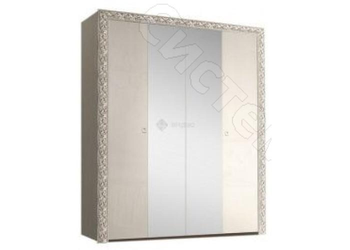 Модульная спальня Тиффани - Шкаф 4-дв. с зеркалами. Слоновая кость