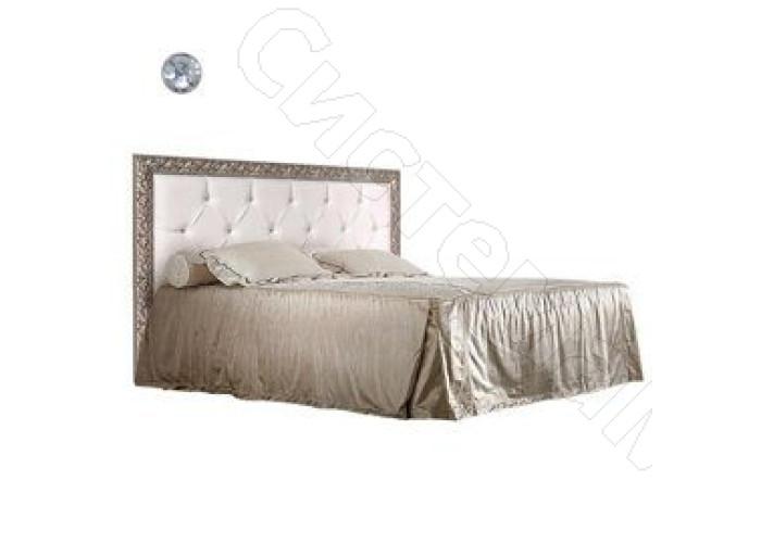Модульная спальня Тиффани - Кровать 2-х спальная 1,6 м с мягким элементом, стразами и подъемным механизмом. Серебро