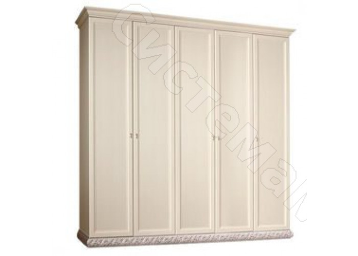 Модульная спальня Тиффани - Шкаф 5-дв. без зеркал. Серебро