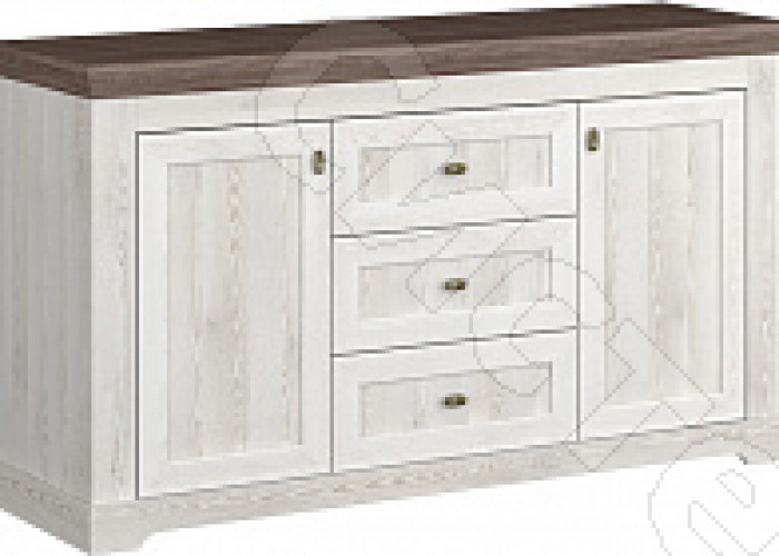 Спальня Ривьера - Комод комбинированный. Сосна белая/сосна джурга