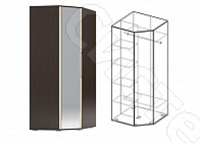 Спальня Берта 1 -  Шкаф угловой с зеркалом. Венге/Ясень шимо светлый