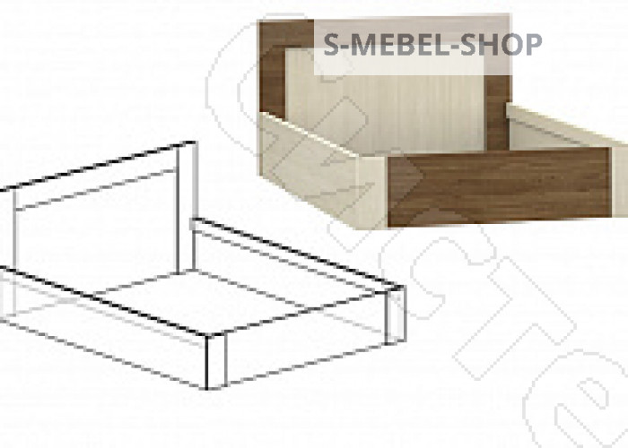 Спальня Берта 1 -  Кровать 1400 с подъемным механизмом. Ясень шимо темный/Ясень шимо светлый