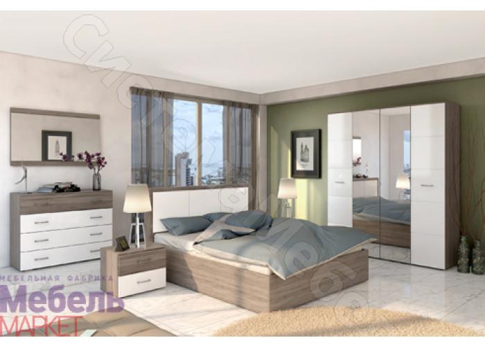 Спальня Барселона 2 - Оксид/Белый глянец. 6 модулей