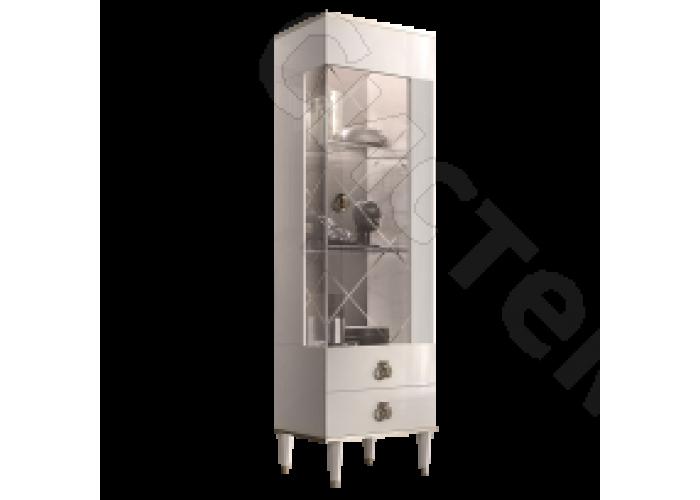 Модульная гостиная Римини соло - Витрина 1-ств. правая. Слоновая кость/серебро