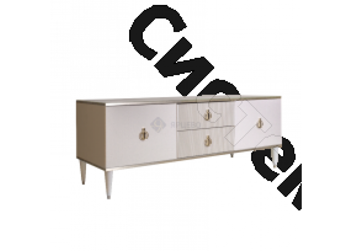 Модульная гостиная Римини соло - Тумба для ТВ 2 двери и 2 фасада. Слоновая кость/серебро