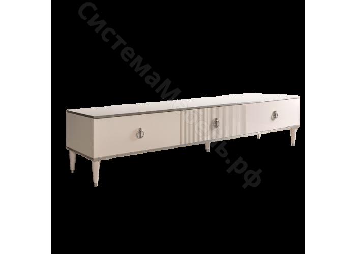 Модульная гостиная Римини соло - Тумба для ТВ 1 ящик 3 двери. Слоновая кость/серебро
