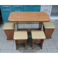 Обеденный стол «Весна» нераскладной + 4 табурета - Ольха