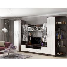 Гостиная модульная Женева - Белый глянец/Венге. До 4 модулей