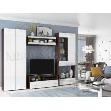 Гостиная модульная Нэнси - Белый глянец/Венге. До 4 модулей