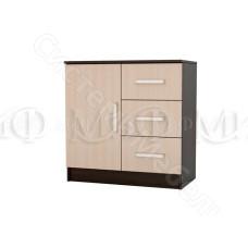 Модульная спальня Бася - Комод с 3 ящиками и дверью. Дуб беленый/Венге