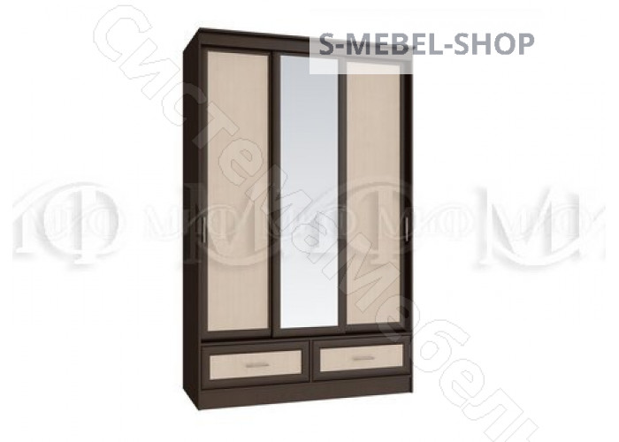 Модульная спальня Модерн - Шкаф купе 1,35. Дуб беленыйВенге