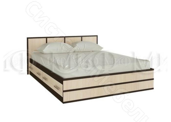 Модульная спальня Сакура - Кровать 1,6 м. Дуб беленый/Венге