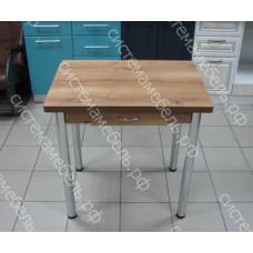 Стол ломберный поворотно-раскладной с ящиком, ножки хром - Орех