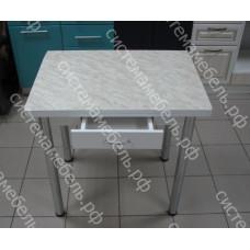 Стол ломберный поворотно-раскладной с ящиком - Белый мрамор