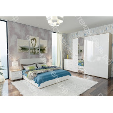 Модульная спальня Анна МДФ - Дуб сонома/Белый глянец. 8 модулей