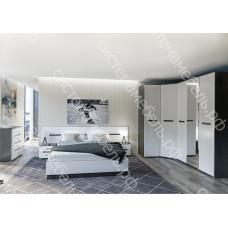 Модульная спальня Вегас МДФ- Венге/Белый глянец. 9 модулей